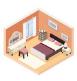 isometric modern bedroom furniture room cutaway vector image vector image