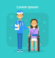 medical doctor with young woman on wheel chair vector image