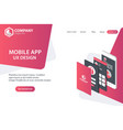mobile app website landing page template concept vector image vector image