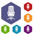 office chair icons set vector image vector image