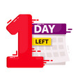 one day left sale countdown sticker isolated on vector image