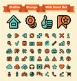 Outline Grunge Web Icons Set vector image vector image
