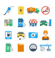 petrol station icons in a flat style vector image