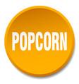 popcorn orange round flat isolated push button vector image vector image