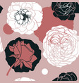rose flowers seamless pattern trendy collage vector image
