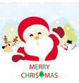 santa claus reindeer and snowman on snow vector image