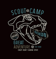 Scout camp emblem in thin line style vector image