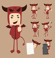 Set of devil characters poses vector image vector image