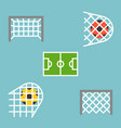 set of shooting football strike and soccer goal vector image vector image