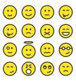 set smiley faces vector image vector image