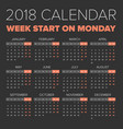 simple 2018 year calendar vector image