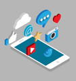 Social media flat 3d isometric concept vector image vector image