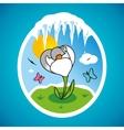 Spring snowdrop in frame vector image