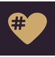 The hash love icon Hashtag heart symbol Flat vector image vector image