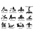 type massages and therapies artworks depict vector image vector image