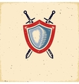 Vintage label with shield and crossed swords vector image