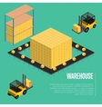 Warehouse isometric concept with forklift vector image vector image