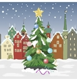 winter day in small town with Christmas tree vector image vector image