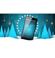 winter landscape smartphone - business vector image