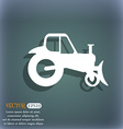 Tractor icon On the blue-green abstract background vector image