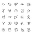 doodle icon set of hearts and valentine vector image