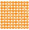 100 usa icons set orange vector image vector image