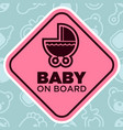 baby on board sign with stroller vector image