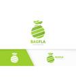 bag logo combination sack and bank symbol vector image vector image