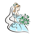 Beautiful bride with flowers vector image vector image