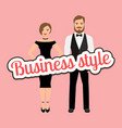 Beautiful couple in business style clothing