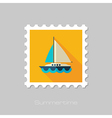 Boat with a Sail flat stamp Summer Vacation vector image