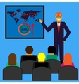 Businessman in suit making presentation vector image