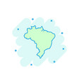 cartoon brazil map icon in comic style brazil vector image