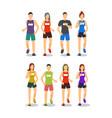 cartoon color characters people marathon runners vector image vector image