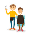 caucasian barber making a haircut to a young man vector image vector image