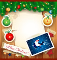 christmas background with funny santa on the vector image