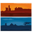 desert at sunset and night vector image vector image