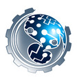 digital technology sphere gear with people vector image vector image