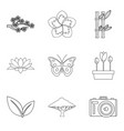 fertilization icons set outline style vector image vector image