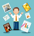 flat design businessman with graphs on papers vector image