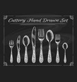 fork spoon knife on chalkboard vector image vector image