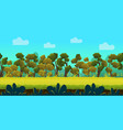 game background with forest and green foreground vector image vector image