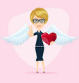 gorgeous young woman as cupid angel with white vector image