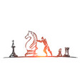 hand drawn man moving huge chess figure vector image vector image