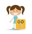 happy girl student school scissors icon vector image vector image