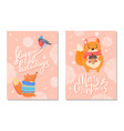 happy holidays greeting card with squirrels acorn vector image vector image