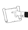 human hand indicates to an empty parchment scroll vector image vector image
