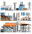 Industrial Buildings Orthogonal Set vector image vector image