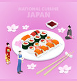 isometric national cuisine japan with sushi