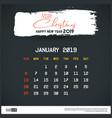 january 2019 new year calendar template brush vector image